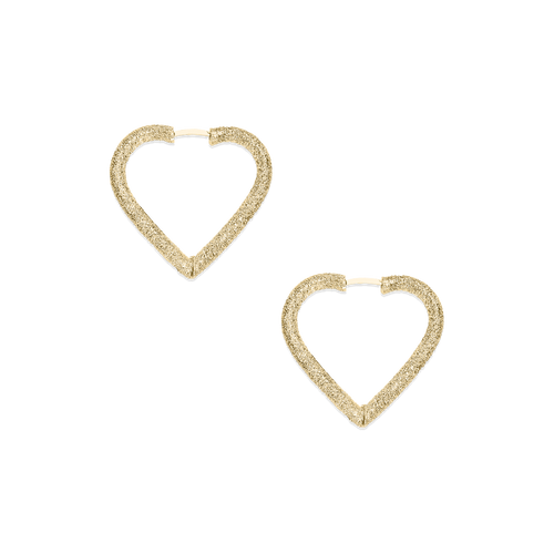 18KT Small Florentine Finish Cuore Hoop Earrings