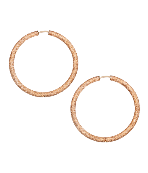 Florentine Finish Large Round Thick Hoop Earrings