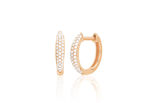 14KT Diamond Dome Mini Huggie Earrings