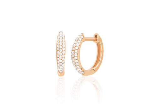 14KT Diamond Dome Mini Huggie Earrings