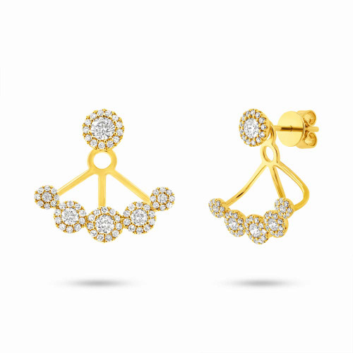 14KT Diamond Hanging Ear Jacket with Stud Earrings