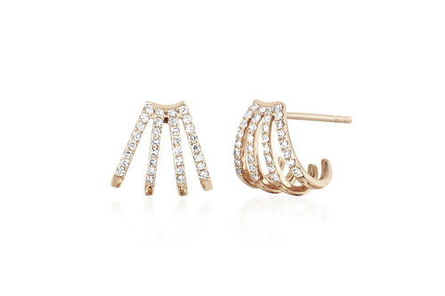 14KT Diamond Multi Huggie Earrings