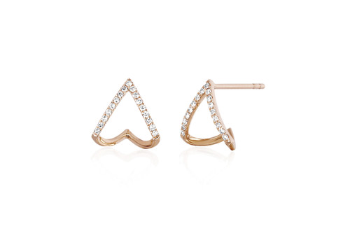 14KT Diamond Chevron Huggie Earrings