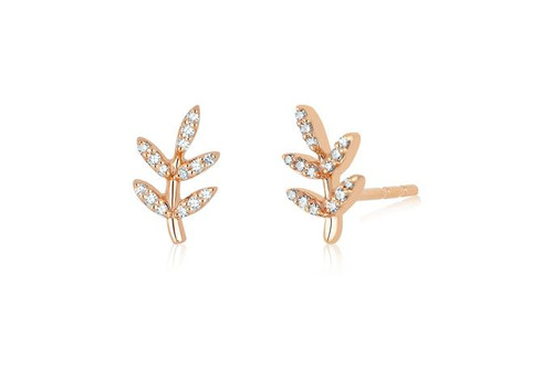 14KT Diamond Leaf Stud Earrings