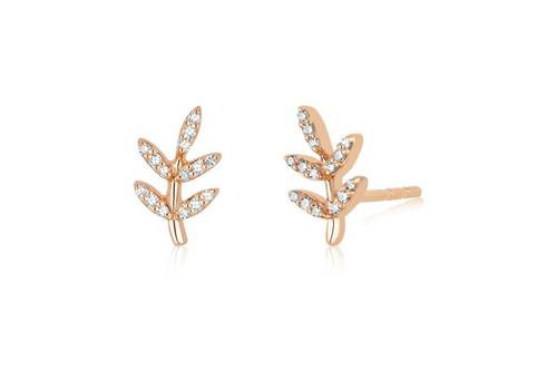 14KT Diamond Leaf Stud Earrings