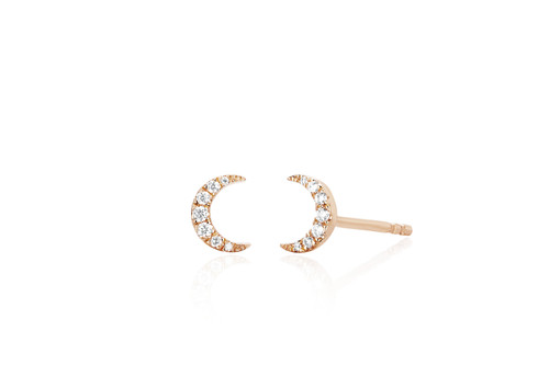 14KT Diamond Mini Moon Stud Earrings