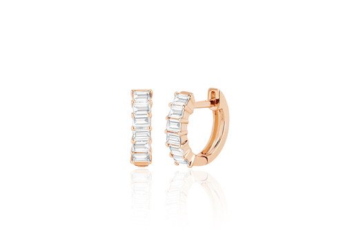 14KT Prong Set Diamond Baguette Huggie Earrings