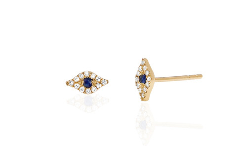 14KT Mini Diamond Evil Eye Stud Earrings