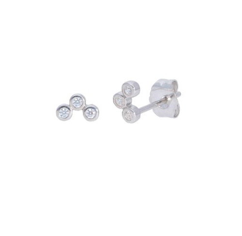 14KT 3 Diamond Bezel Set Stud Earrings