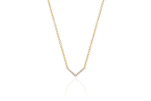 14KT Mini Diamond Chevron Necklace