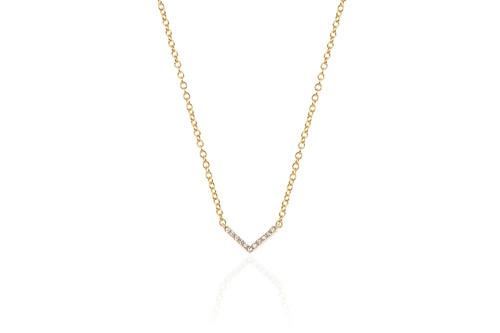 14KT Mini Diamond Chevron Necklace