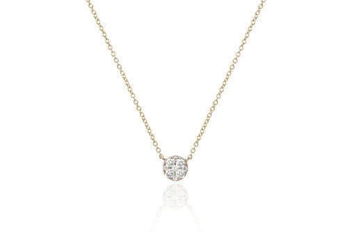 14KT Full Cut Diamond Disc Choker Necklace