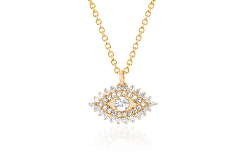 14KT Prong Set Diamond Evil Eye Necklace