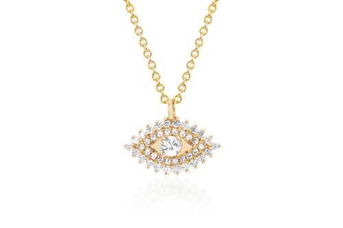 14KT Prong Set Diamond Evil Eye Necklace
