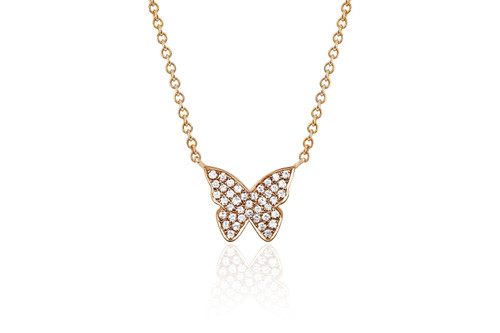 14KT Diamond Butterfly Necklace