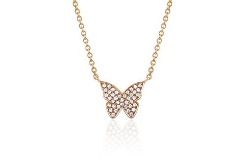14KT Diamond Butterfly Necklace