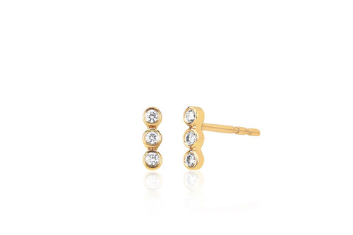 14KT Diamond Triple Bezel Stud Earrings