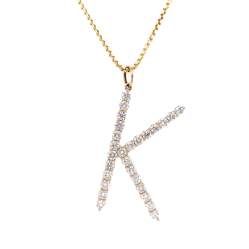 14KT Diamond Initial Pendant