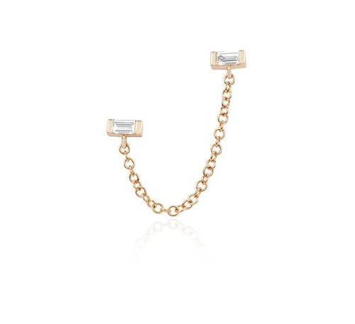 14KT Diamond Baguette Chain Double Stud Earring