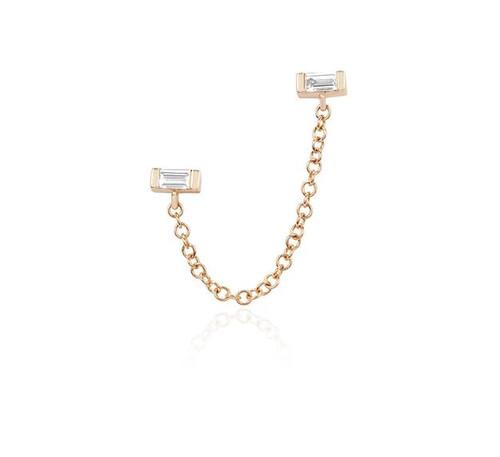 14KT Diamond Baguette Chain Double Stud Earring