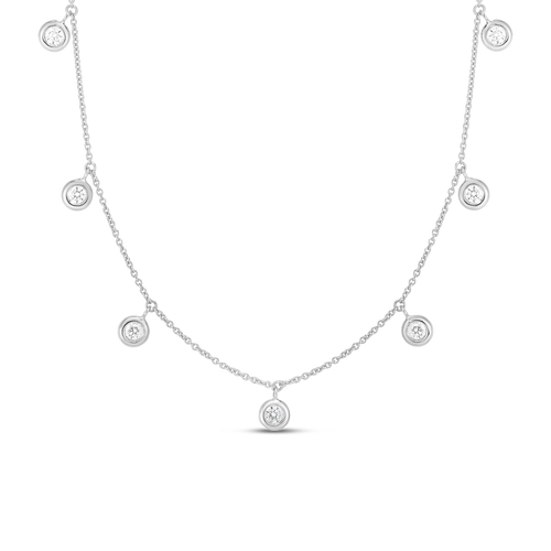 18KT Seven Diamond Drop Station Necklace