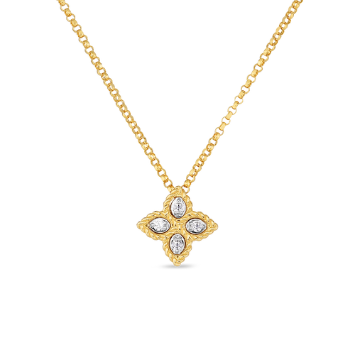 18KT Small Diamond Princess Flower Necklace