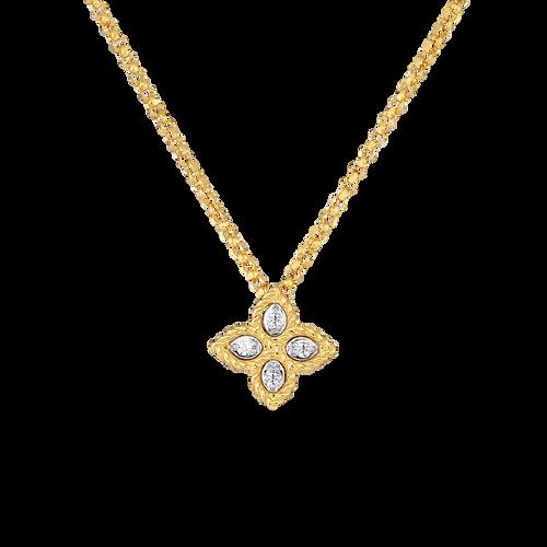 18KT Small Diamond Princess Flower Necklace