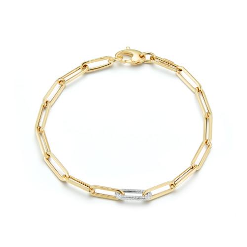 Paper Clip Chain with Single Diamond Link Bracelet