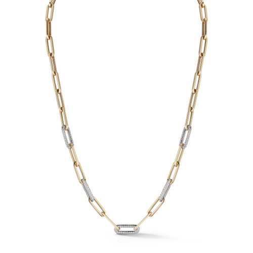 14KT Paper Clip Chain with Five Diamond Links Necklace