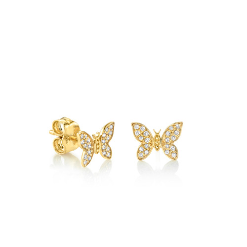 14KT Diamond Butterfly Stud Earrings