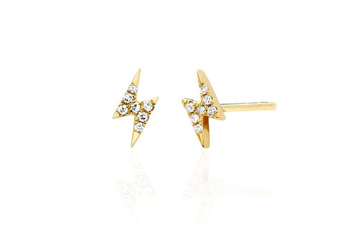 14KT Diamond Mini Lightning Bolt Stud Earring
