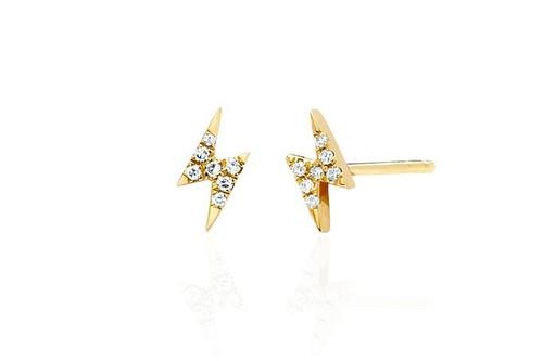 14KT Diamond Mini Lightning Bolt Stud Earring