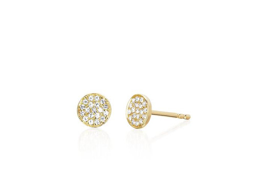 14KT Diamond Mini Disc Stud Earring