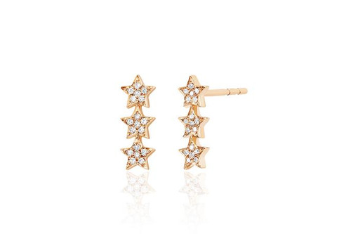 14KT Diamond Triple Mini Star Stud Earring