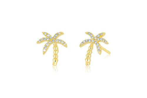 14KT Diamond Wild Palm Stud Earrings