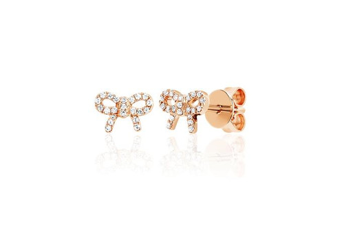 14KT Diamond Mini Bow Stud Earring