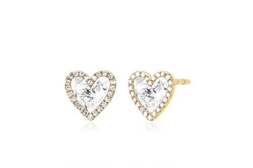 14KT Diamond & White Topaz Heart Stud Earring