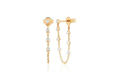 14KT Prong Set Diamond Chain Stud Earring