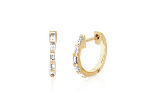 14KT Diamond Baguette Huggie Earring