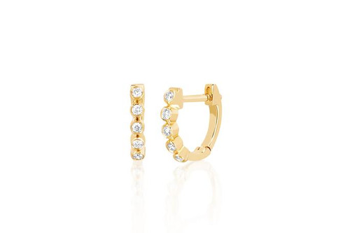 14KT Diamond Mini Bezel Huggie Earring
