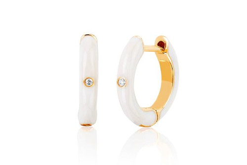 14KT Diamond White Enamel Huggie Earring