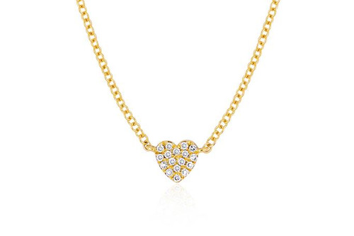 14KT Diamond Single Mini Heart Necklace