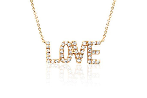 14KT Mini Diamond Love Necklace