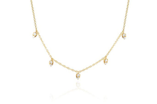 14KT Diamond Multi Teardrop Choker Necklace
