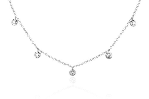 14KT 5 Diamond Bezel Choker Necklace