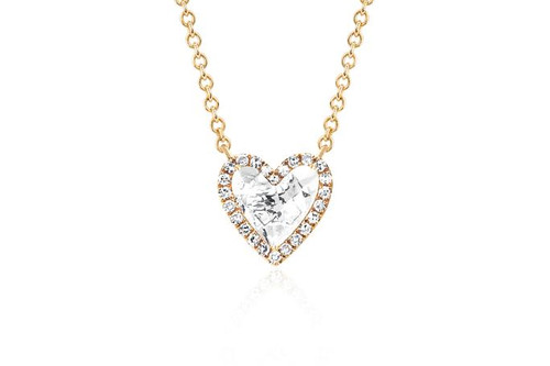 14KT Diamond & White Topaz Heart Necklace
