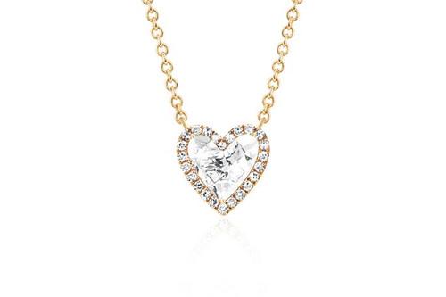 14KT Diamond & White Topaz Heart Necklace