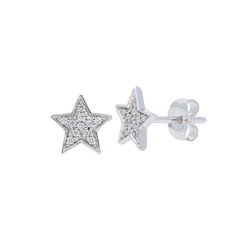 14KT Small Diamond Star Stud Earrings