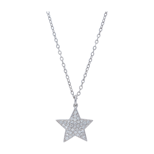 14KT Pave Diamond Star Pendant Necklace