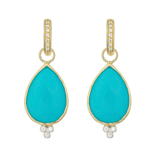 Large Pear Stone Earring Charms With Diamond Trio